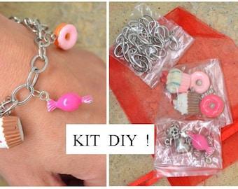 1 x child gourmandise perfume silver Strawberry charm bracelet DIY kit