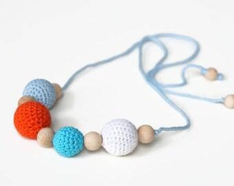 Girls necklace, crochet necklace, kids accessory, breastfeeding / nursing necklace, teething necklace, crochet accessory, kids jewelry
