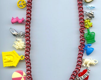 Toy Charms Necklace Made With Collectibles and Compass