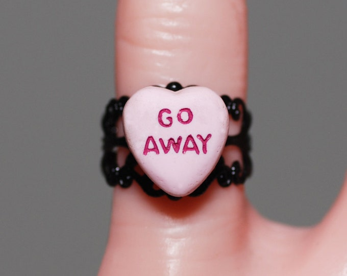 Creepy Cute Candy Heart style Miniature message Ring -  Jewelry - Go Away