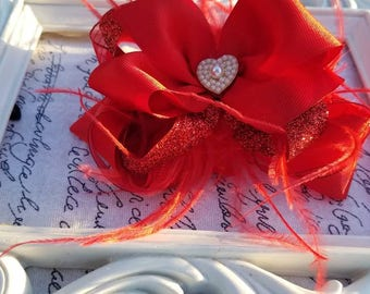 Red Valentine hairbow