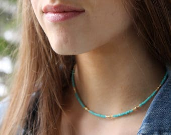 Turquoise and Gold Beaded Choker Necklace