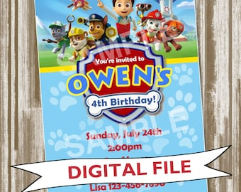 Paw Patrol Theme Birthday Party Invitation and Matching Thank You Note--PERSONALIZED DIGITAL FILE