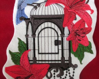 XL Embroidered Bird Uncaged Applique Patch, Victorian , Dove, Birdcage, Iron or Sew On Patch, Home Decor, Bag, Flowers Lilly, Blue Bird, Key