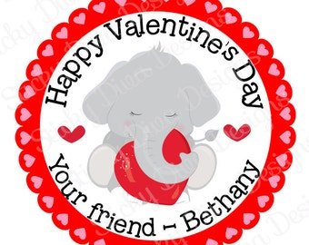 PERSONALIZED VALENTINE STICKERS - Little Elephant Design  - Round Gloss Sticker Labels