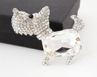 Scottie Terrier Dog Brooch, Crystal Dog Brooch, Small Dog Brooch, Small Terrier Dog Pin, Scottie Dog Brooch Gift, Silver Dog Brooch Pin