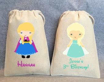 "12- Frozen Party, Frozen Birthday, Anna, Elsa, Ice Princess party, Princess Birthday, Princess party, Olaf,  Frozen party favor bags, 5""x8"""
