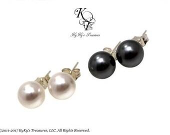 Pearl Studs Swarovski Pearl Earrings Sterling Silver Pearl Stud Earrings Bridal Jewelry Gift for Her Custom Pearl Earrings