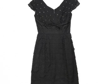 Vintage 50s Black Lace Cocktail Wiggle Dress Jeweled Neckline Small Bodycon 1950s 60s