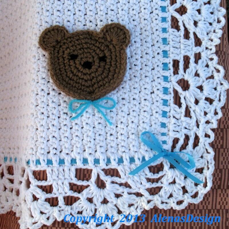 Crochet Pattern 084 Crochet Blanket Pattern Lace Edging White