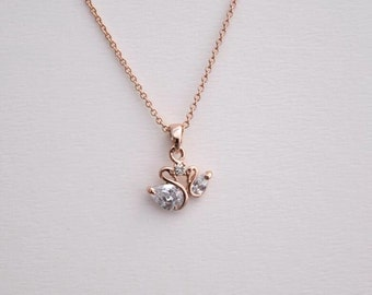 rosegold goose necklace dainty minimal everyday necklace Christmas necklace bridesmaid necklace