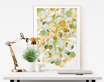 Flower Art Print, Fine Art Giclee Print, Flowers No4, gold, green, teal