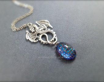 Dragon & Egg Necklace. Antique Silver. Iridescent. Mystical. Magic. Fantasy. Under 30. Vintage Style. Blue. Gift. Unique Oddities.