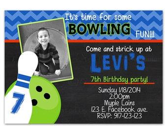 Bowling invitaion - bowling invite - bowling birthday party - bowling party invitaion - digital invitation - printable - bowling
