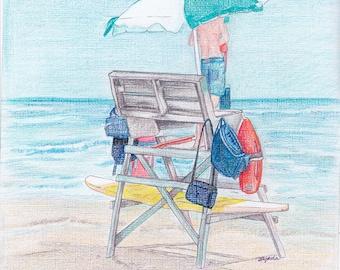 LIFEGUARD STAND- Art Print/Beach Scene/Limited Edition