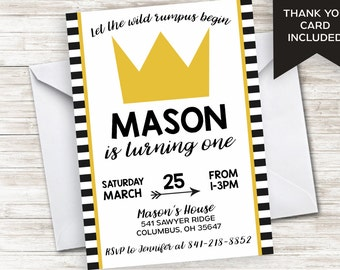 Wild Thing Invitation Invite ONE Birthday Stripes Gold Crown King First ANY AGE Digital Personalized 5x7