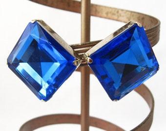 Cornflower Blue Earrings, Blue Gemstone Earrings, Blue and Silver, Silver and Blue Earrings, Blue Diamond Earrings, Blue Glass Earrings