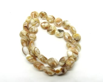 12mm Mother of Pearl in Resin Puffed Flat Round Bead Strand (B499g)