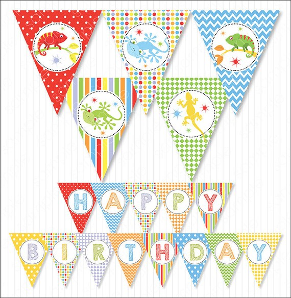 Reptiles Happy Birthday Party Banners Bunting Flags