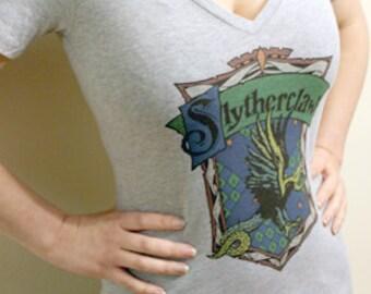 Slytherclaw Cross-House Crest V-Neck T Shirt