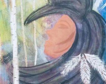 Sleeping crow original painting, home decor, wall decor, tree art, wall hanging