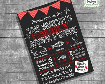 BBQ invitation family barbecue invitation backyard barbeque party invite digital printable invitation 13182