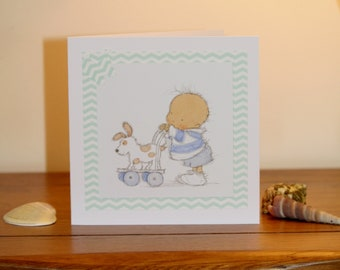 Handmade baby card 'New Baby Boy' in green