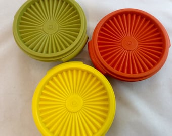 Vintage Tupperware Serve and Seal Small Bowls and Lids x 3, Tupperware Small Servalier Bowls in Harvest Colors