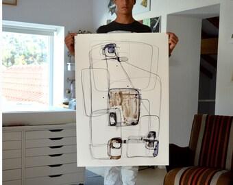 Large size Abstract fine art ink drawing- Minimal ink art,zen,nature,stones,structural forms, modern art,original,art,modern abstract,