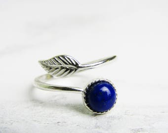 Feather Ring, Feather Ring Adjustable, Feather Ring Silver, Feather Ring Sterling Silver, Lapis Lazuli Ring, Ring For Women, Gifts For Her