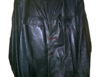 Vintage 70s Leather Coat Black Leather Jacket mens 1970s VINTAGE LEATHERCOAT mens BLlack Leather coat Military style Belted Coat L size 52