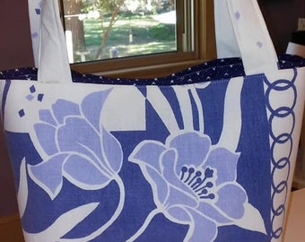 Vintage tote, purse, tablecloth, blue, white