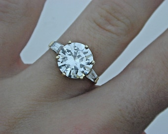 9ct Yellow Gold Huge Cubic Zirconia nearly 5 carats Ring size G 1/2
