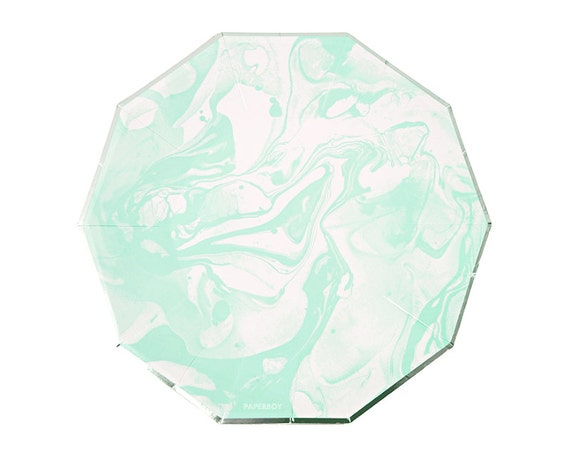 Mint Marble Small Paper Plates by Meri Meri Modern Chic Pastel Rainbow Plates Hexagon / Mint Green Silver Foil / Dessert Plate from PaperboyParty on Etsy ...  sc 1 st  Etsy Studio & Mint Marble Small Paper Plates by Meri Meri Modern Chic Pastel ...