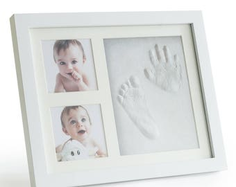 Premium Clay Baby Footprint & Handprint Picture Frame Kit -Perfect Baby Shower Gift