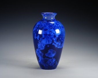 Porcelain Vase - Dark Blue - Crystalline Glaze - Hand-Made, High-Fired Pottery  - SHIPPING INCLUDED  - #A-5375