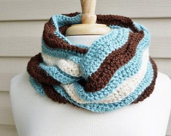 Crochet Super Soft, Ripple Stich Infinity Scarf in Aqua, Chocolate Brown and Cream