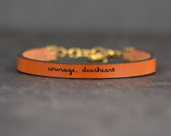 have courage | courage dearheart | cs lewis quote | leather bracelet | meaningful gift | strength jewelry | christian bracelet | aslan quote