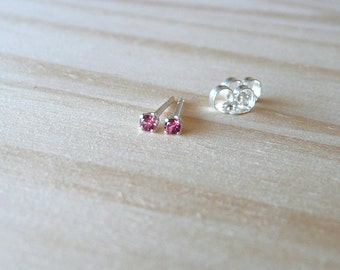 teeny tiny stud earrings, natural rhodolite earring, 2mm rhodolite gemstone stud earrings, rhodolite tiny earring stud, June birthstone stud
