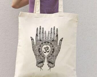 Mehndi hands Om sign tote bag-yoga tote bag-gym bag-custom bag-quote tote bag-Mehndi bag-natural tote bag-boho tote bag-NATURA PICTA NPTB028
