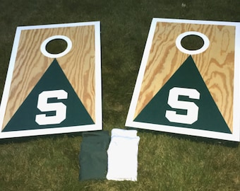 Michigan State, MSU, Spartan, Tailgating Cornhole Game, Bag Toss Game, Lawn