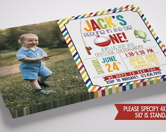Reeling in the Big One Fishing Photo Birthday Invitation with FREE Thank You Note!