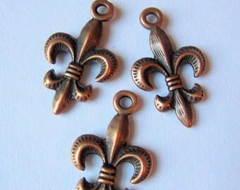 12 Fleur De Lis charms antique copper metal 24mm 14mm diy supply