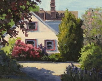 The Sunny Side - Small Original home and garden Plein Air Painting