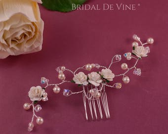 Vanessa Bridal Hair Comb - Mulbery White/Ivory Flowers, Pearls & CRYSTALLIZED™ Swarovski Elements Crystals