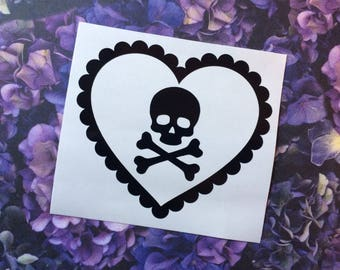 Macabre Love Hearts - Skull & Crossbones - Car decal, Laptop sticker, Spooky, Macabre, Gorey, Lolita, Spooky cute, Pirate, Poison