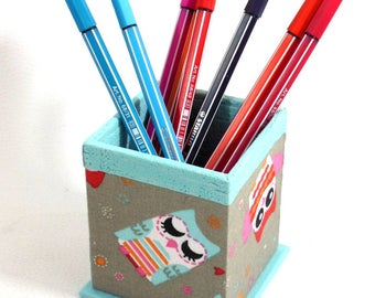 POT PENCILS owls - turquoise and taupe