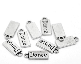 "10 Pieces Antique Silver ""Dance"" Rectangle Charms"