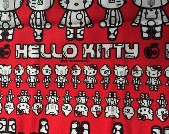 Hello kitty robot hello kitty printed  cotton fabric half yard red color limited item sale