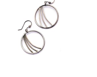 Sterling Silver Hoop Earrings, Swoosh Earrings, Oxidized Silver Earrings, Modern Jewelry, Silver and Black Minimal Earrings, Circle Dangles